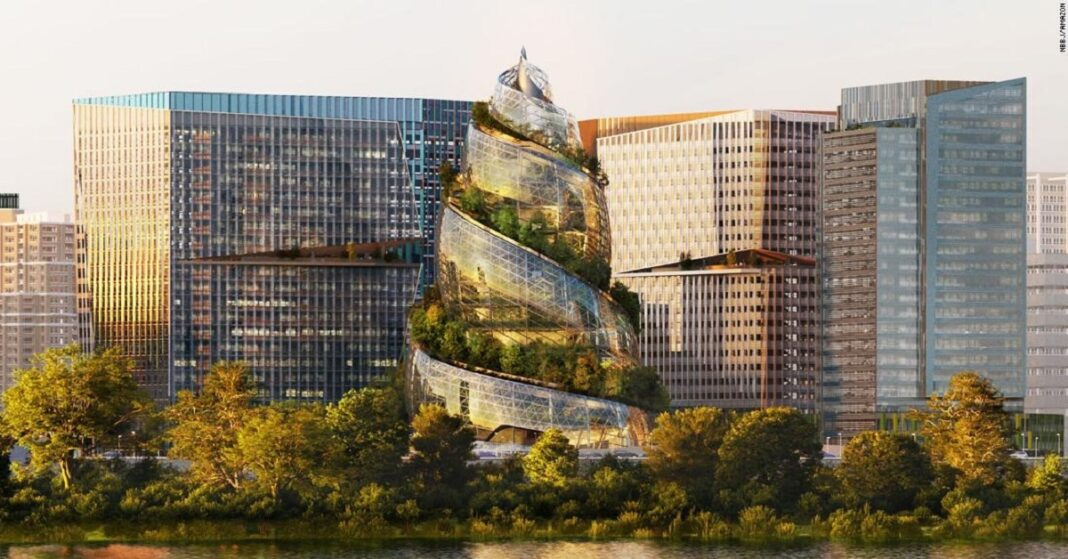 The next HQ of Amazon is basically a glass poop emoji which is covered with trees.